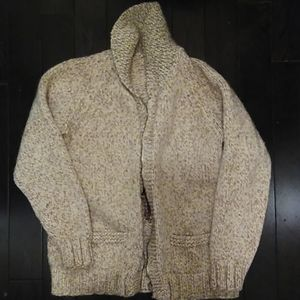 Hand-knit sweater jacket.